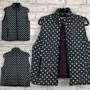 Loft Outlet Navy and Cream Polka Dot Puffy Vest